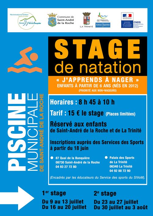 affiche Inscriptions : Stage de Natation